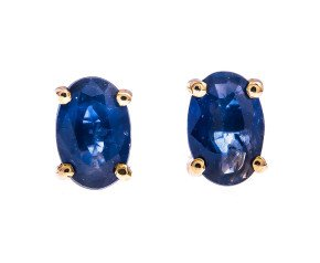 9ct Yellow Gold 1.10ct Oval Sapphire Solitaire Earrings