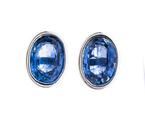 9ct White Gold 1.80ct Oval Sapphire Solitaire Stud Earrings