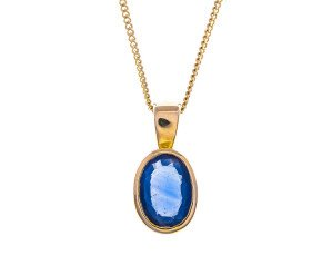 9ct Gold 0.80ct Sapphire Rub Over Solitaire Pendant