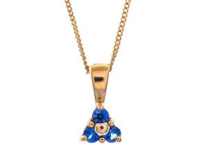 9ct Gold Sapphire Triple Stone Pendant