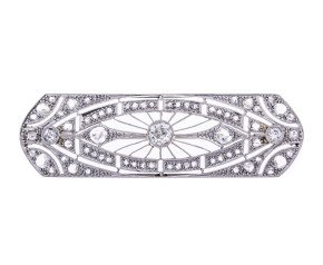 Early 20th Century Art Deco Platinum & 1.00ct Diamond Brooch