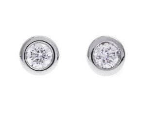 18ct White Gold 0.80ct Diamond Rubover Solitaire Stud Earrings