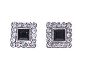 18ct Gold 0.85ct Sapphire & 0.48ct Diamond Square Halo Stud Earrings