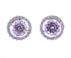 18ct White Gold Kunzite & Diamond Halo Stud Earrings