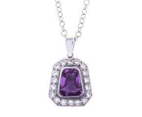 18ct White Gold Pink Sapphire & Diamond Pendant