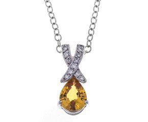18ct White Gold Yellow Sapphire & Diamond Pendant
