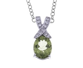 18ct White Gold Peridot & Diamond Pendant