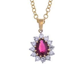 18ct Gold Ruby & Diamond Cluster Pendant
