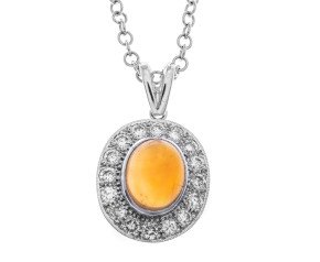 18ct White Gold Fire Opal & Diamond Halo Pendant