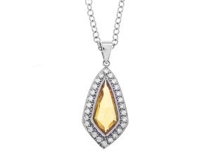 18ct White Gold Yellow Sapphire & Diamond