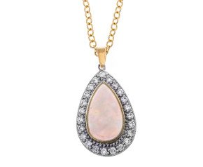 18ct Gold Opal & Diamond Cluster Pendant