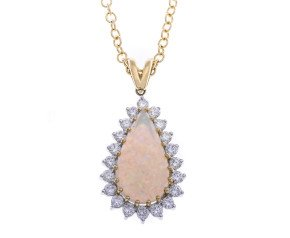 18ct Gold Opal & Diamond Drop Pendant