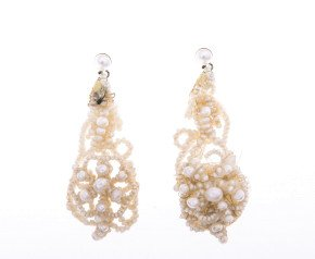 Early 20th Century Intricate Seed Pearl Drop Earrings