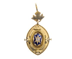 Antique Victorian 18ct Gold Diamond & Enamel Navette Pendant