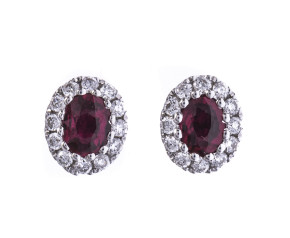 0.40ct Ruby & 0.15ct Diamond Cluster Halo Earrings