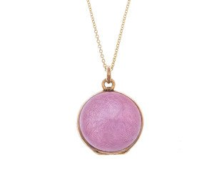 Antique Victorian Silver Gilt Pink Enamel Locket