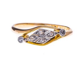 Antique Yellow Gold & Platinum Diamond Ring