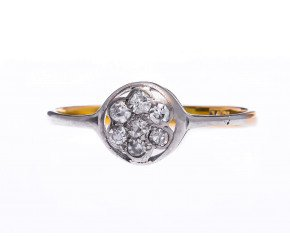 Antique 18ct Yellow Gold 0.20ct Diamond Cluster Ring