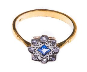 Vintage 18ct Yellow Gold Sapphire & Diamond Cluster Ring