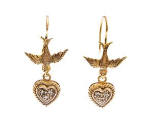 Antique Victorian 9ct Gold Diamond Drop Bird Earrings