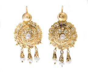 Antique Victorian Cultured Pearl Drop Earrings