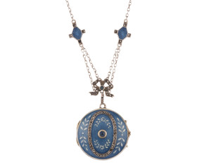 Antique Edwardian Silver Sapphire & Marcasite Blue Enamel Locket