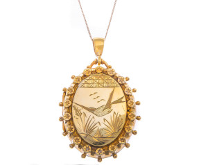 Antique Aesthetic Victorian Silver Gilt Locket