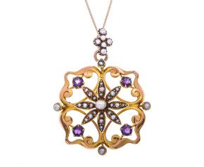 Antique 15ct Yellow Gold Amethyst & seed pearl pendant.