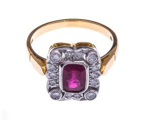 18ct Gold 1.28ct Ruby & Diamond Cocktail Ring