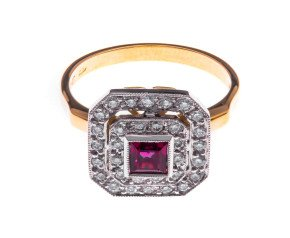 18ct Gold 0.41ct Ruby & Diamond Cocktail Ring