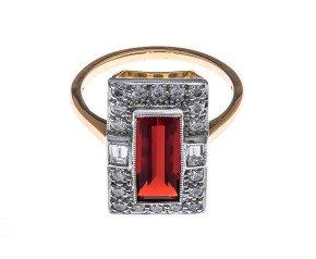 18ct Gold 1.47ct Fire Opal & Diamond Halo Ring
