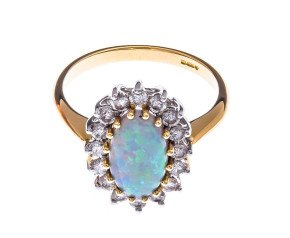18ct Gold 1.43ct Opal & Diamond Dress Ring
