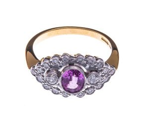 18ct Gold 0.85ct Pink Sapphire & Diamond Dress Ring