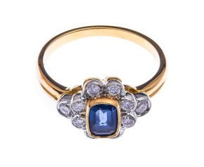 18ct Gold 0.51ct Sapphire & Diamond Dress Ring