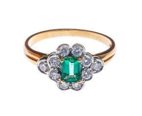 18ct Gold 0.72ct Emerald & Diamond Dress Ring