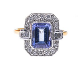 18ct Gold 2.16ct Tanzanite & Diamond Dress Ring