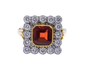 18ct Gold 1.00ct Fire Opal & Diamond Dress Ring