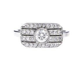 Platinum 0.54ct Diamond Art Deco Style Dress Ring