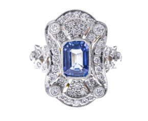 18ct Gold 1.50ct Sapphire & Diamond Art Deco Style Ring