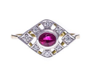 18ct Gold 0.50ct Ruby & Diamond Dress Ring