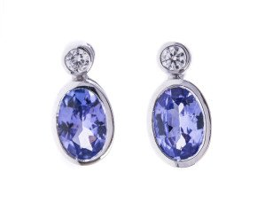 18ct White Gold 0.86ct Tanzanite & Diamond Earrings