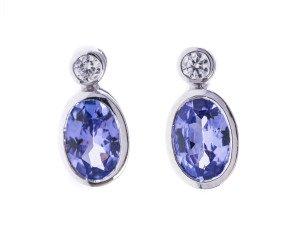18ct White Gold 0.86ct Tanzanite & Diamond Earrings