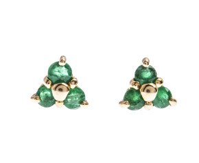9ct Yellow Gold 0.25ct Emerald Cluster Stud Earrings