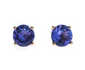 9ct Yellow Gold 1.15cts Tanzanite Solitaire Stud Earrings