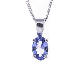 9ct White Gold 0.40ct Tanzanite Solitaire Pendant