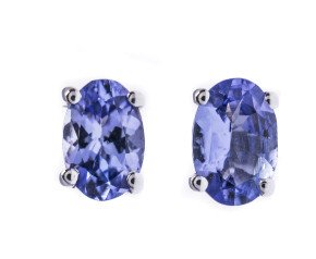 9ct White Gold 0 80ct Tanzanite Solitaire Stud Earrings