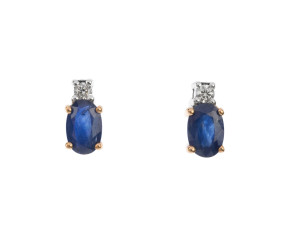 9ct Yellow Gold 1ct Sapphire & 0.06ct Diamond Drop Earrings