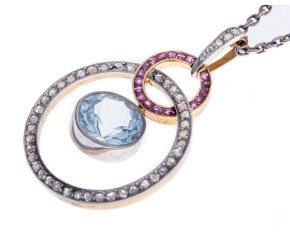 Vintage 18ct 1.70ct Aquamarine, Ruby & Diamond Pendant