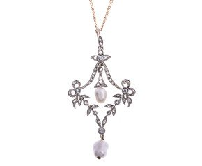 Antique Victorian Diamond & Cultured Pearl Pendant