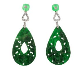 Vintage Silver Jade & Paste Earrings